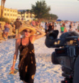 Lisa Codianne Fowler being filmed on location at Anna Maria Island