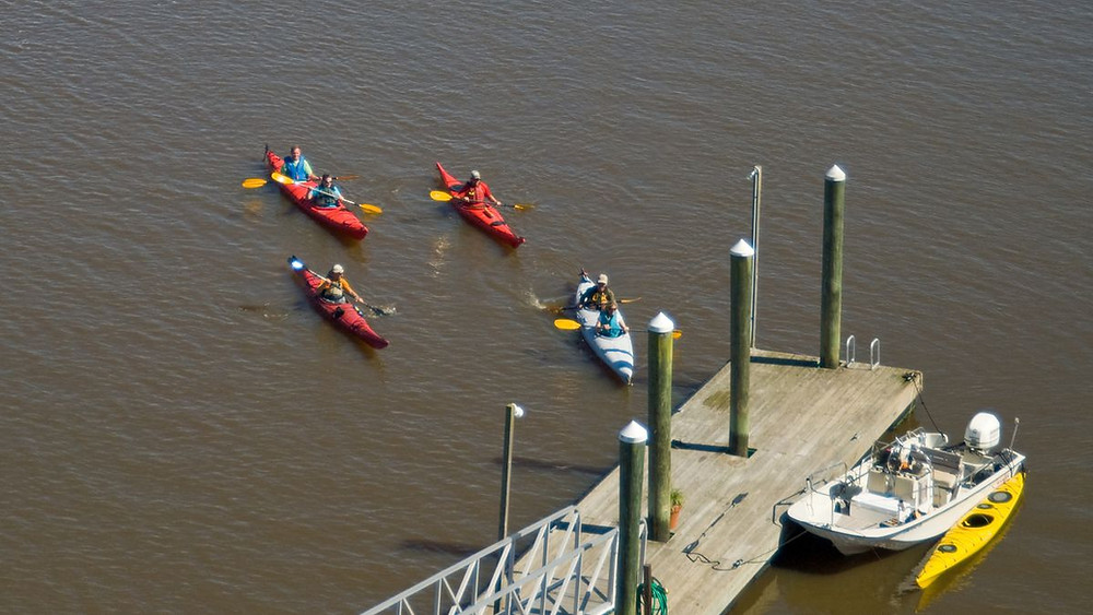 Several kayaks departing from dock at Eagle Island