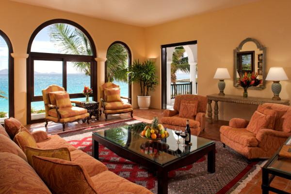 Interior of private villa overlooking the sea