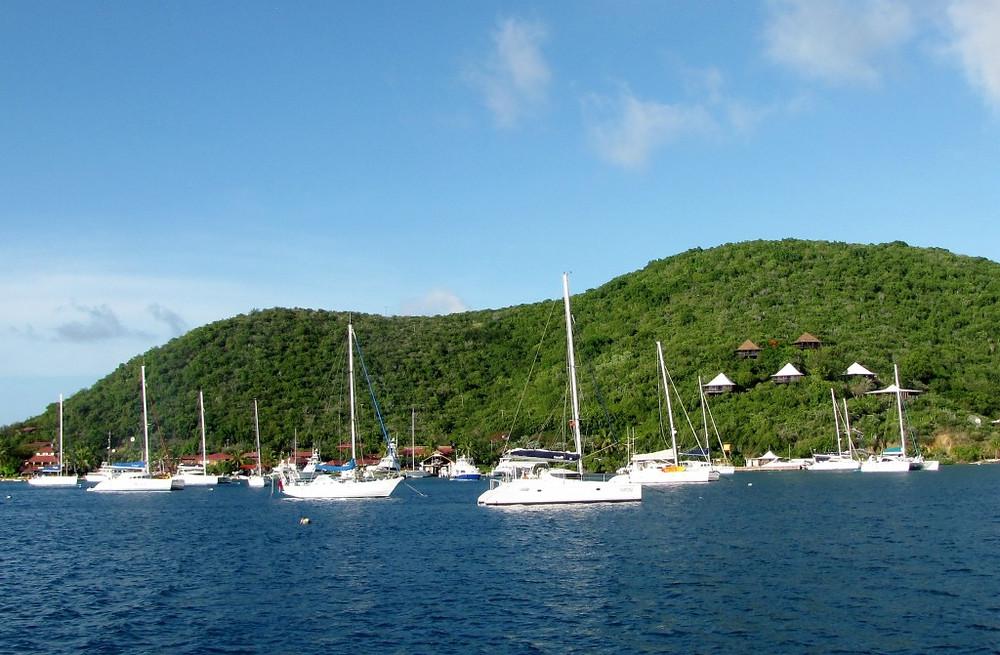 Sailboats anchored at Bitter End Yacht Club