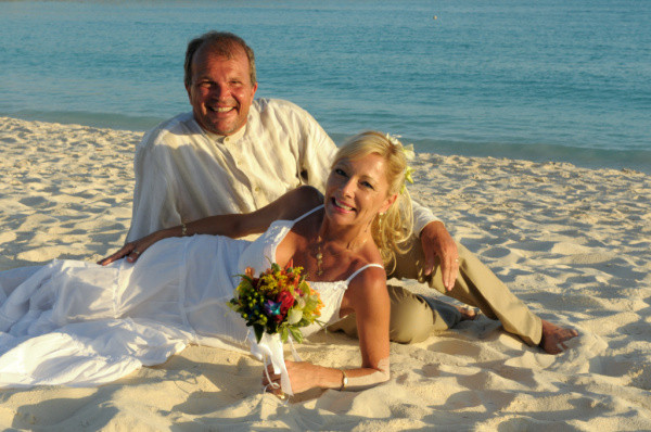 Patrick and Lisa on the beach after vow renewal ceremony