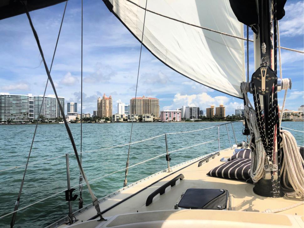 Sails up against Sarasota skyline
