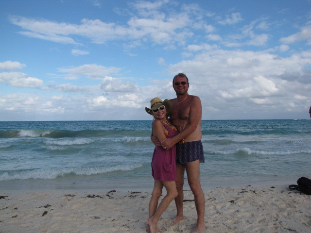 Lisa and Patrick on the shoreline at Riviera Maya
