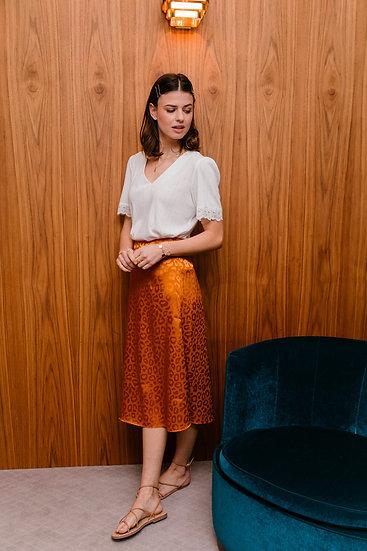 Oranje rok met print