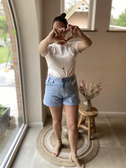Wit T-shirt Rode hartjes