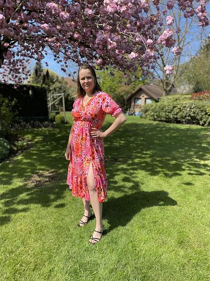 Floral dress roze