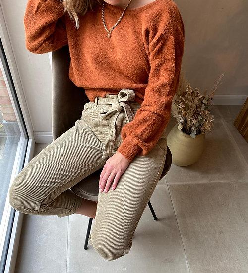 Beige broek met strik