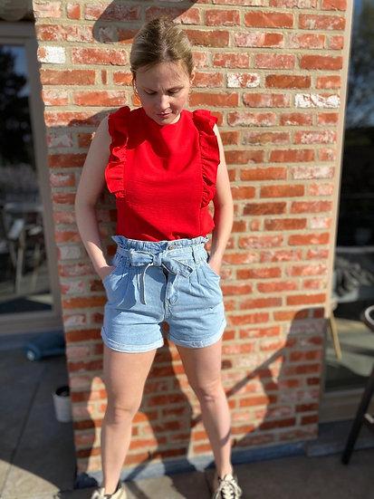 Cosy high waist jeans short