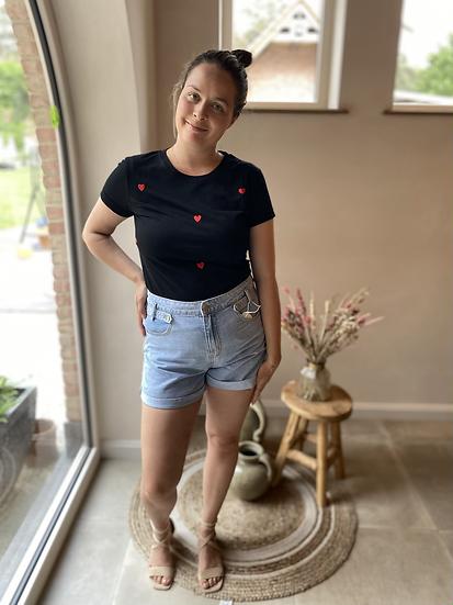 Zwart T-shirt rode hartjes