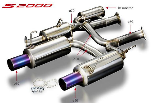 TODA Racing Honda S2000 Ø70mm High Power Exhaust System (Ver. 2)