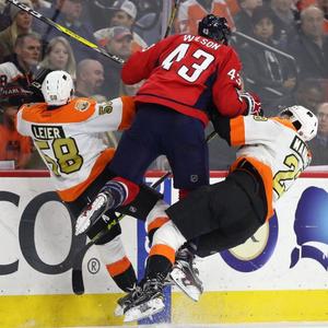 Hockey player body check
