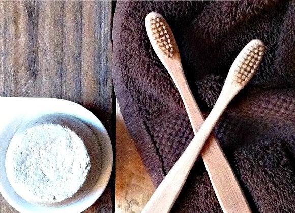Kit hygiène dentaire : Dentifrice solide BIO + Brosse à dent en bambou