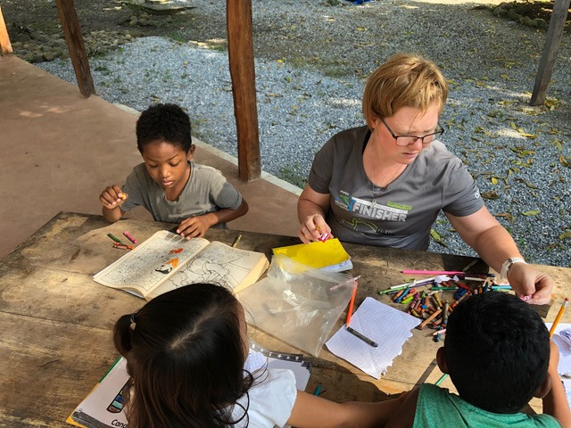 Missionary and children coloring.