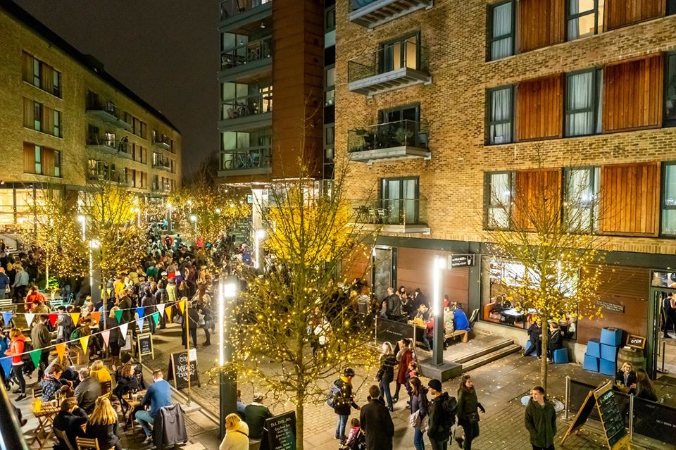Wapping Wharf sparkly lights switch on Bristol