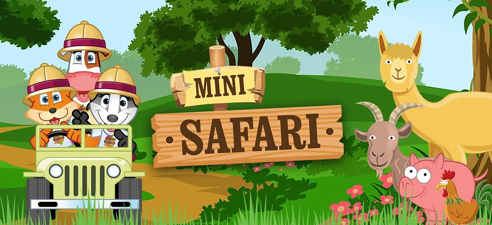 Cartoon graphic of Drive Thru Mini Safari and its animals