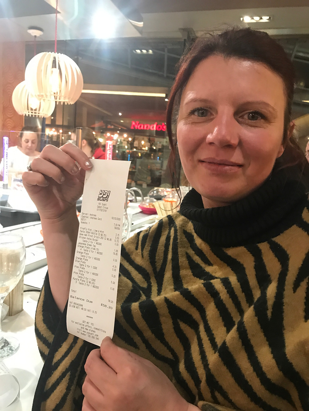 Me with my Yo! Sushi receipt