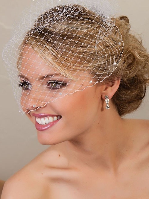 Pearl Accented Visor Veil