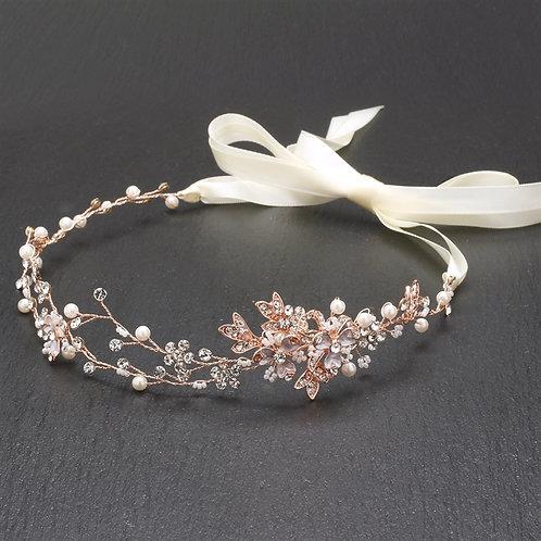 Hand Painted Rose Gold Bridal Headband