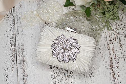 Be-jeweled Ivory Satin Bridal Minaudiere