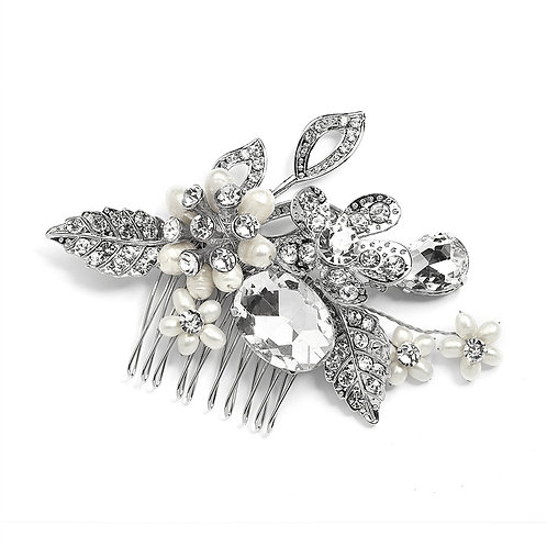 Vintage Bridal Comb with Crystals and Pearls