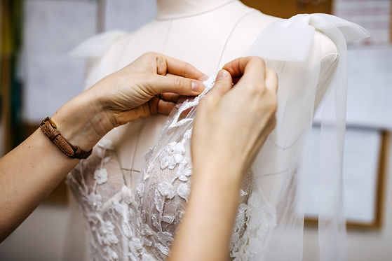 Close-up of work process of a tailor in