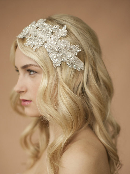 Sculptured Ivory Lace Wedding Headband