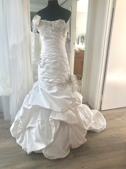 Pleated Silk Strapless Bridal Gown