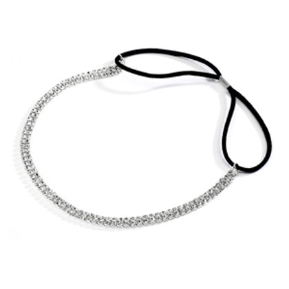 2-Row Silver Rhinestone Adjustable Headband