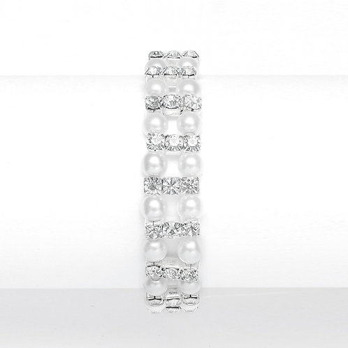 White Pearl & Rhinestone Stretch Bracelet