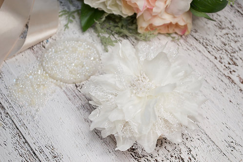 Soft Cream Flower Hair Clip