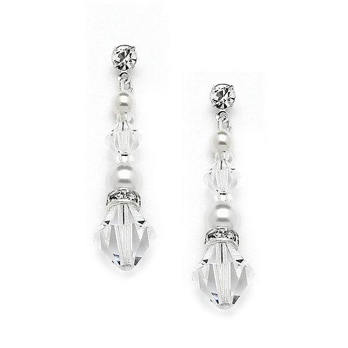 Crystal & Pearl Dangle Earrings