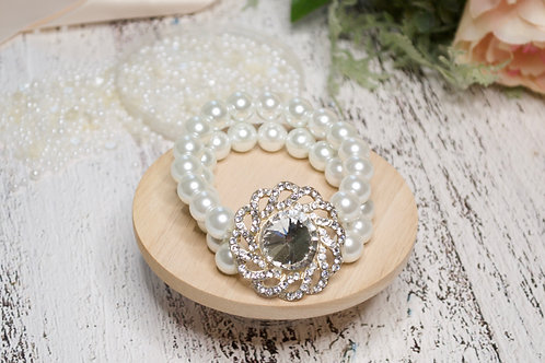 2-Row Wedding Bracelet with Bold Crystal Motif