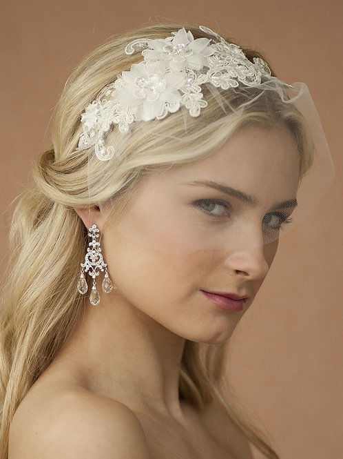 Headband with Ivory European Lace Applique & Veil