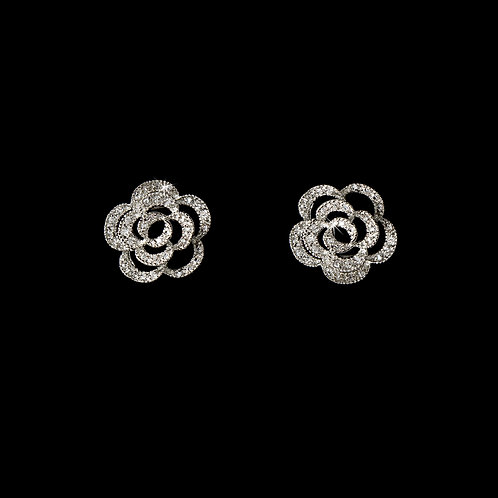 Antique Silver & CZ Flower Earrings