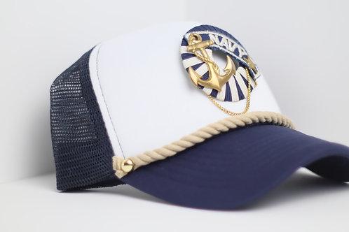 Navy Emblem Trucker