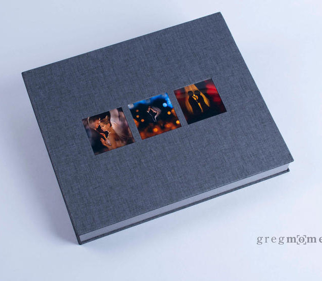 Exclusive lay flat album box with three
