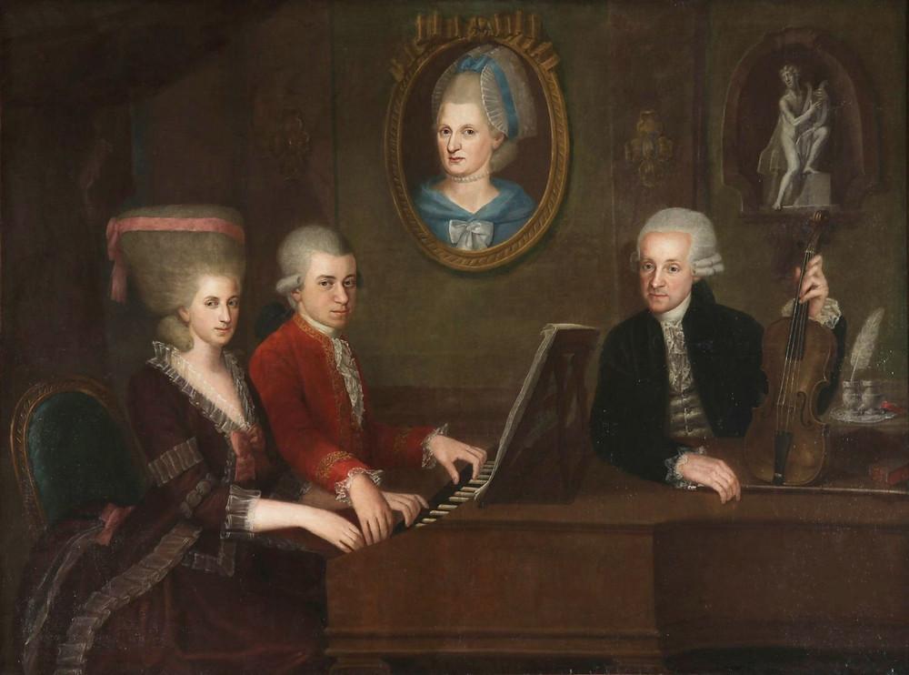 Das Familienporträt der Mozarts von Johann Nepomuk della Croce, Quelle: https://de.wikipedia.org/wiki/Johann_Nepomuk_della_Croce#/media/Datei:Croce_MozartFamilyPortrait.jpg