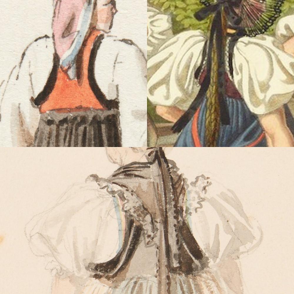 Berner Trachten Nach Niklaus König und Gabriel Lory um 1820. Im Gegensatz zu den Trachtenträgerinnen oben lugt bei der Aargauerin unten das mit buntem Seidenband eingefasste Wessli hervor. Quelle: Sammlung Gugelmann.