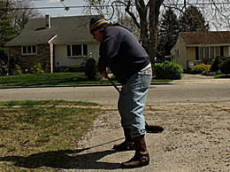 Swept lady's driveway for her today.