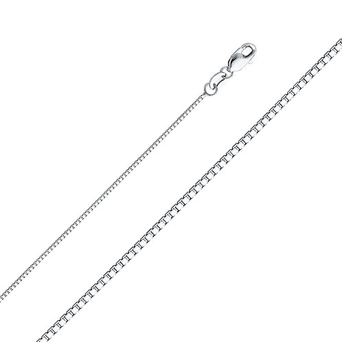 14k White Gold 1-mm Box Chain Necklace