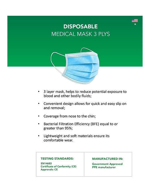 10-3 ply Disposable Surgical Masks