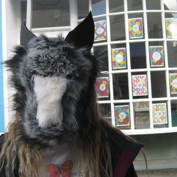 Outdoor Wolfpack mask workshop, Seasoning,Ulverston Charter day 2017