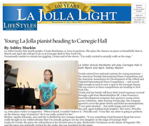 Ursula Hardianto at La Jolla Newspaper