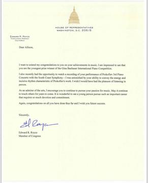 Letter from Congressman Ed Royce