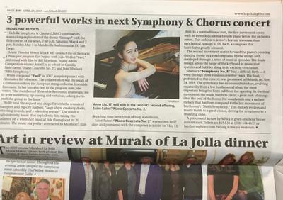 Anne Liu plays with La Jolla Symphony