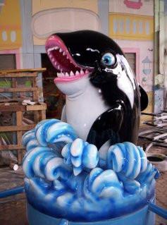 Pembuatan maskot patung karakter binatang kartun dengan bahan fiberglass