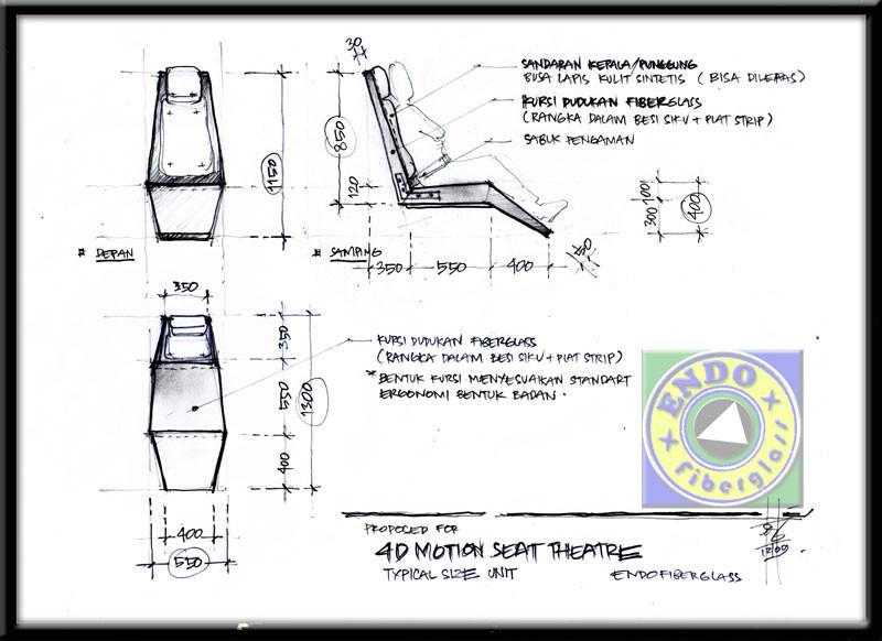 Desain Sketsa Bangku Fiberglass 4D