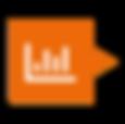 Ícone de gráfico em barras dentro de um balão laranja escuro