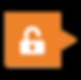Ícone de cadeado aberto dentro de um balão laranja escuro