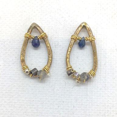Sapphire Smoky Quartz Beaded Earrings by Petite Sunflower Shop